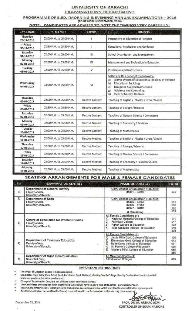 UOK issues B.Ed and M.Ed Annual Date Sheet 2018