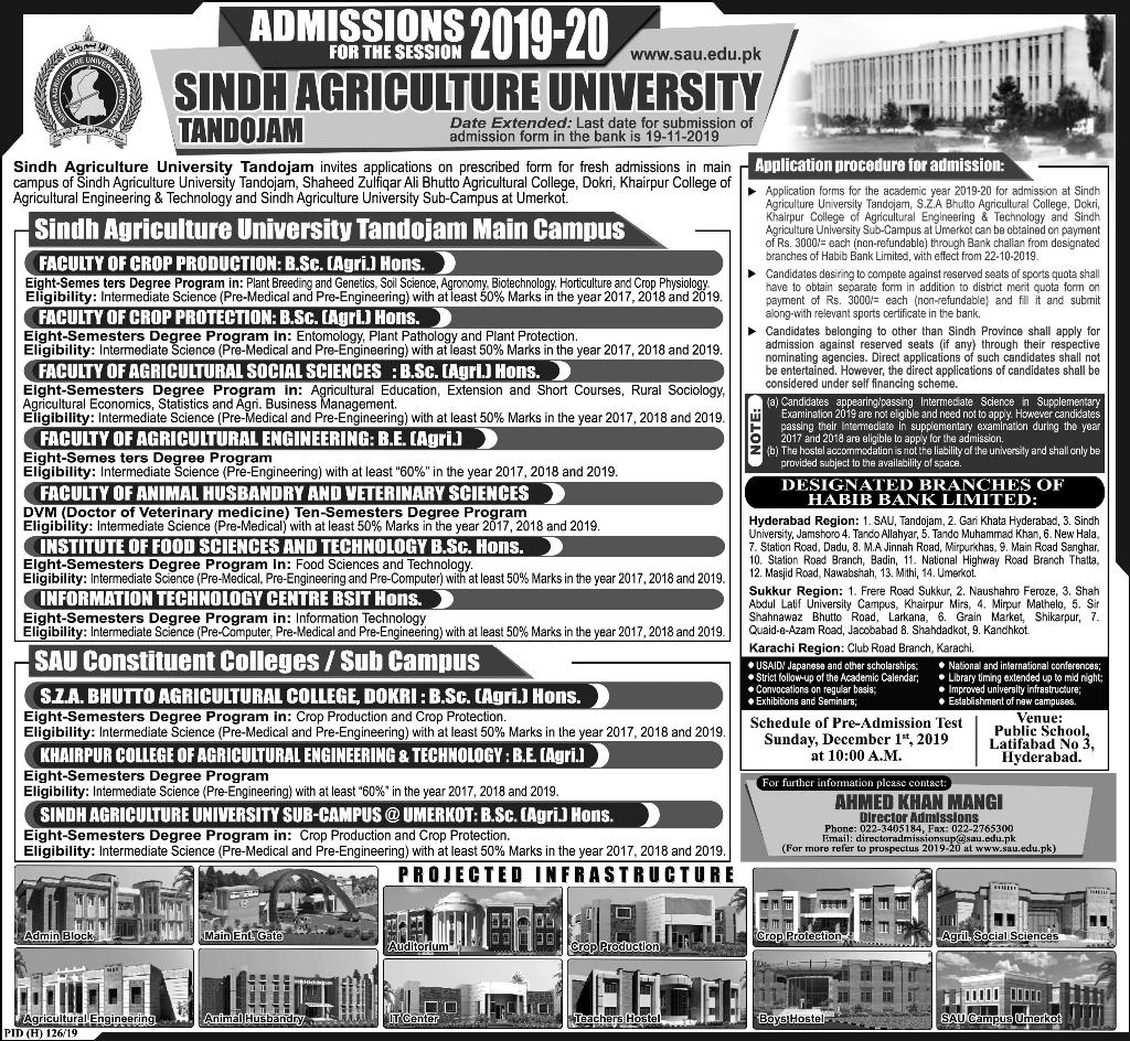 Sindh Agriculture University BSc Admission 2019-20