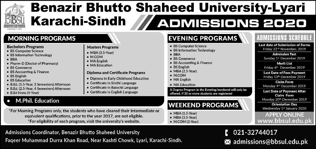 Benazir Bhutto Shaheed University Karachi Admission 2020