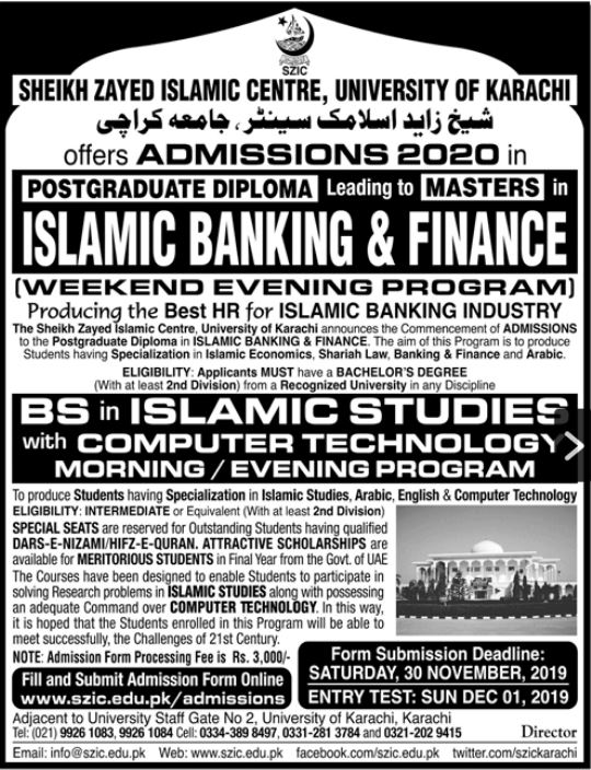 Sheikh Zayed Islamic Centre, Admission BS 2020