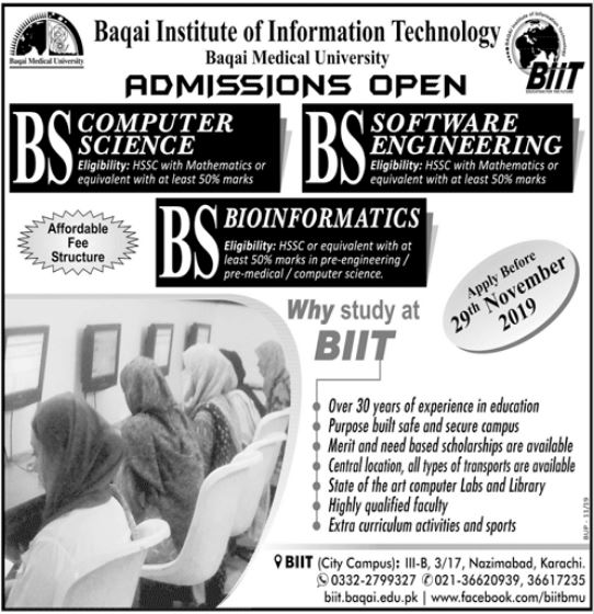 Baqai Institute of Information Technology BS Admission 2019