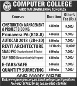 Computer College Pakistan Engineering Congress Admission