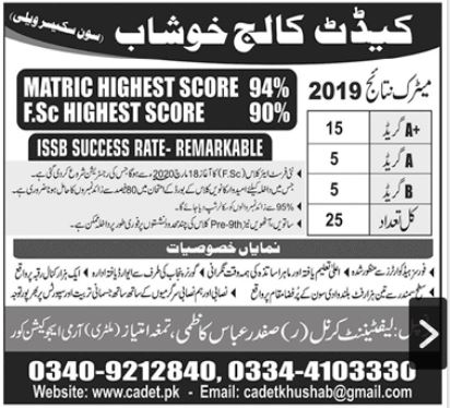 Cadet College 1st Year admissions 2019